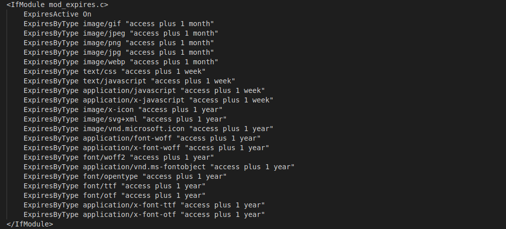 caching timeline saved in .ht access file