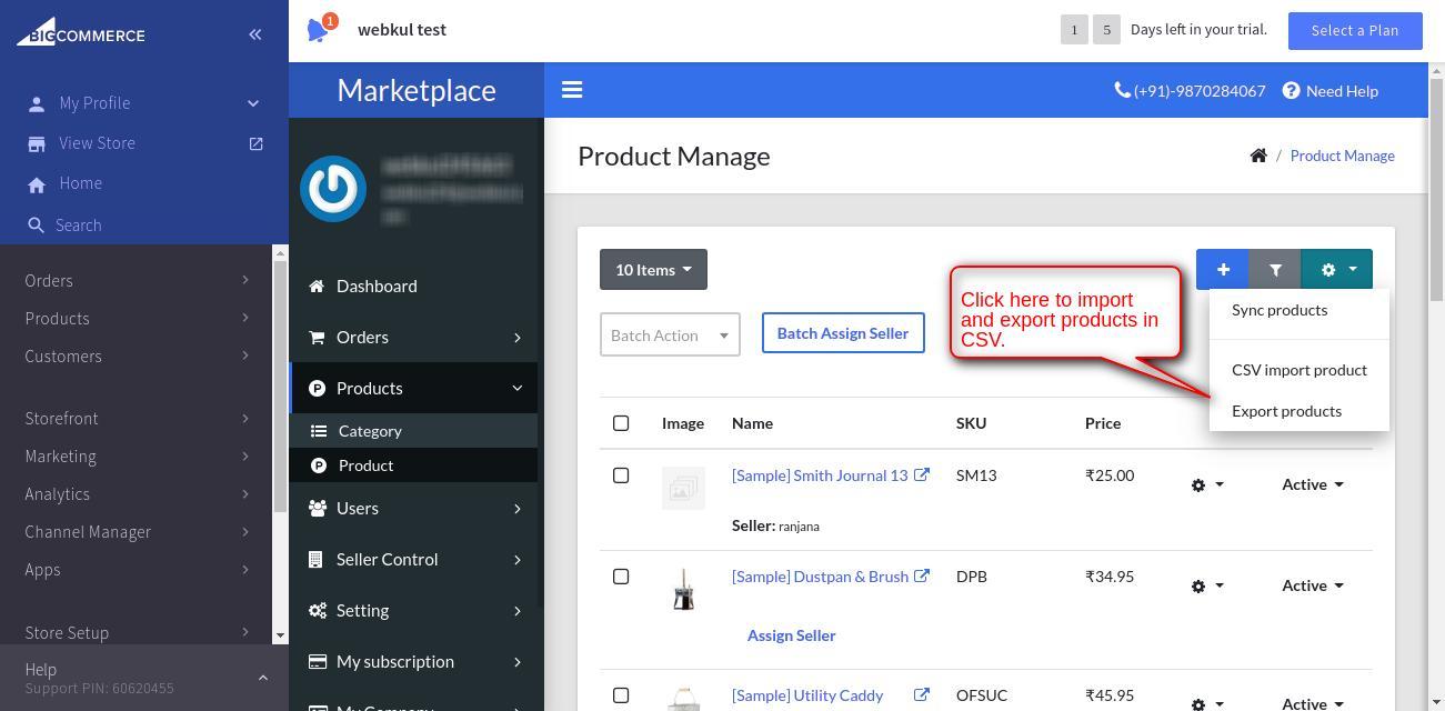 import n export in BigCommerce MultiVendor Marketplace