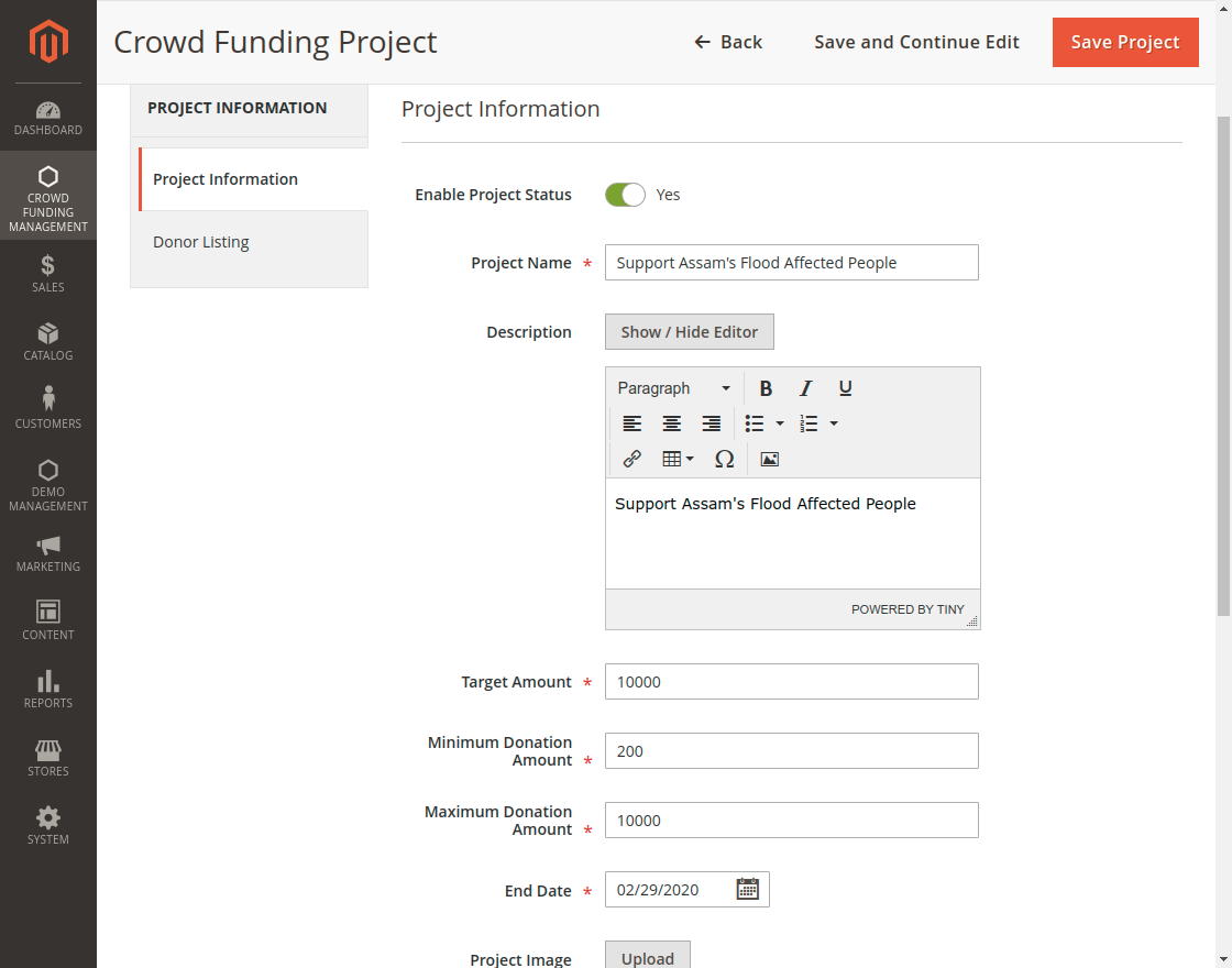 Create Project - Crowd Funding Management