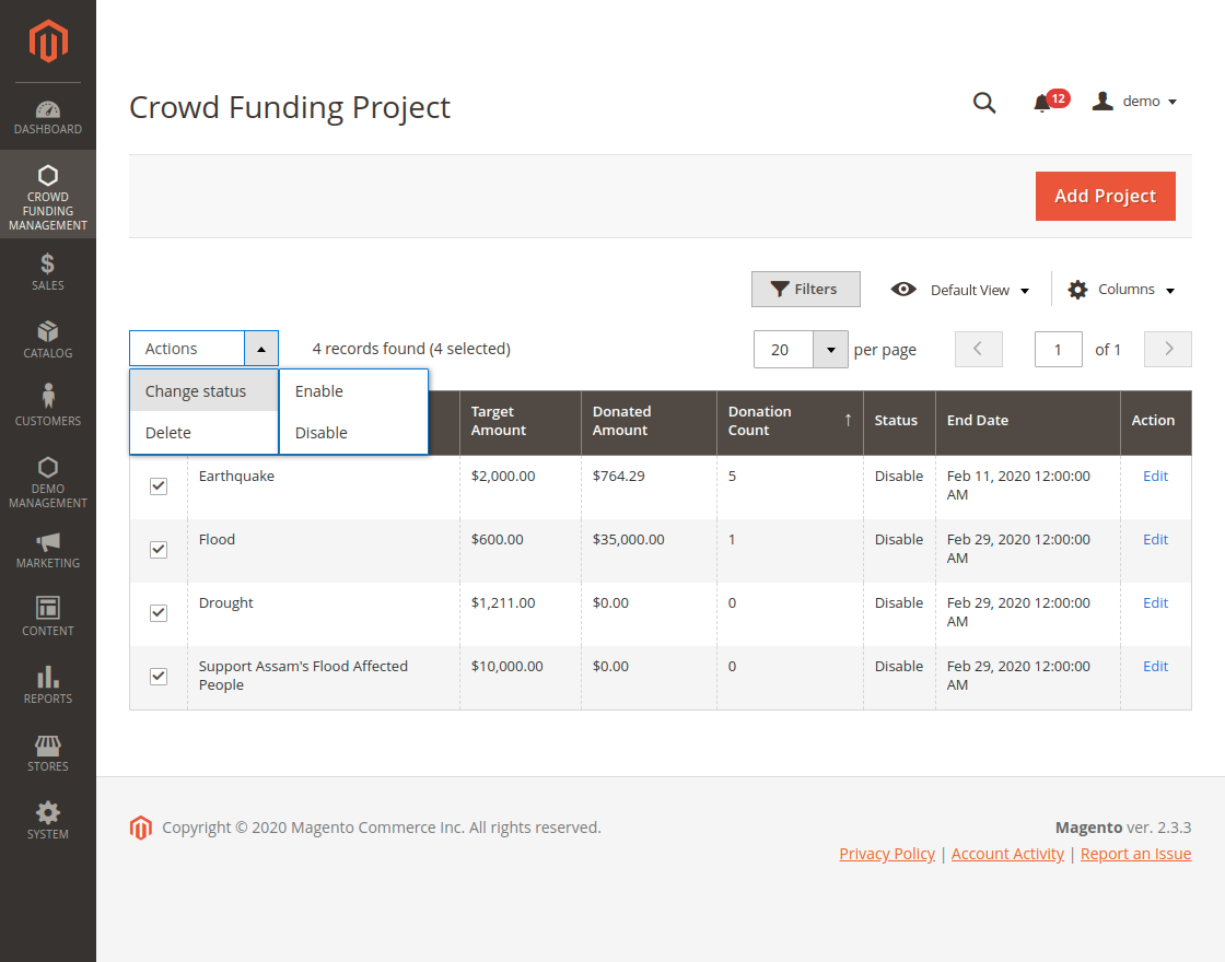 Crowd Funding Management - Change Project Status