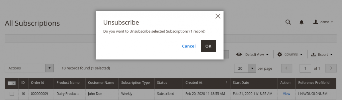 Magento2 Recurring Payment Subscription - unsubscribe