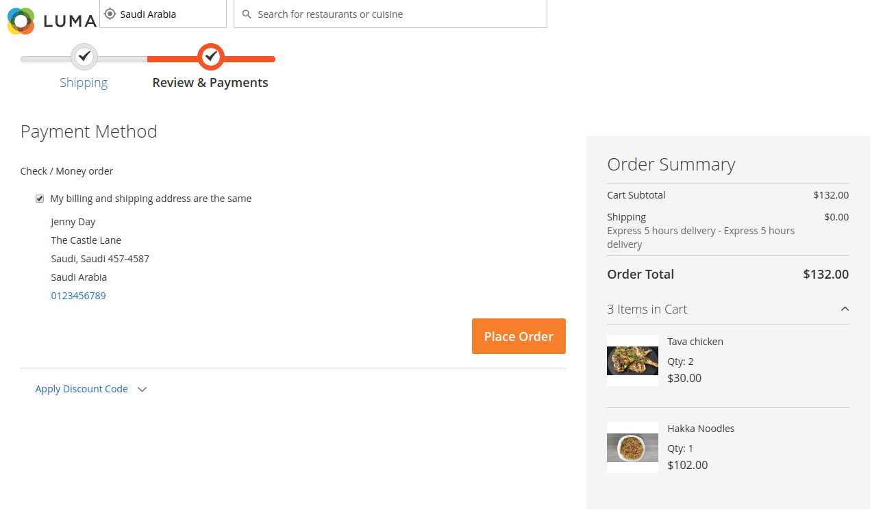 webkul-magento2-food-delivery-maketplace-customer-adds-payment-reviews