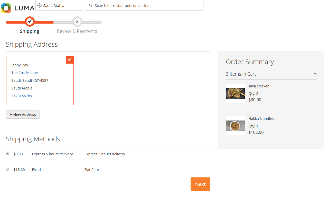 webkul-magento2-food-delivery-maketplace-customer-adds-shipping-details