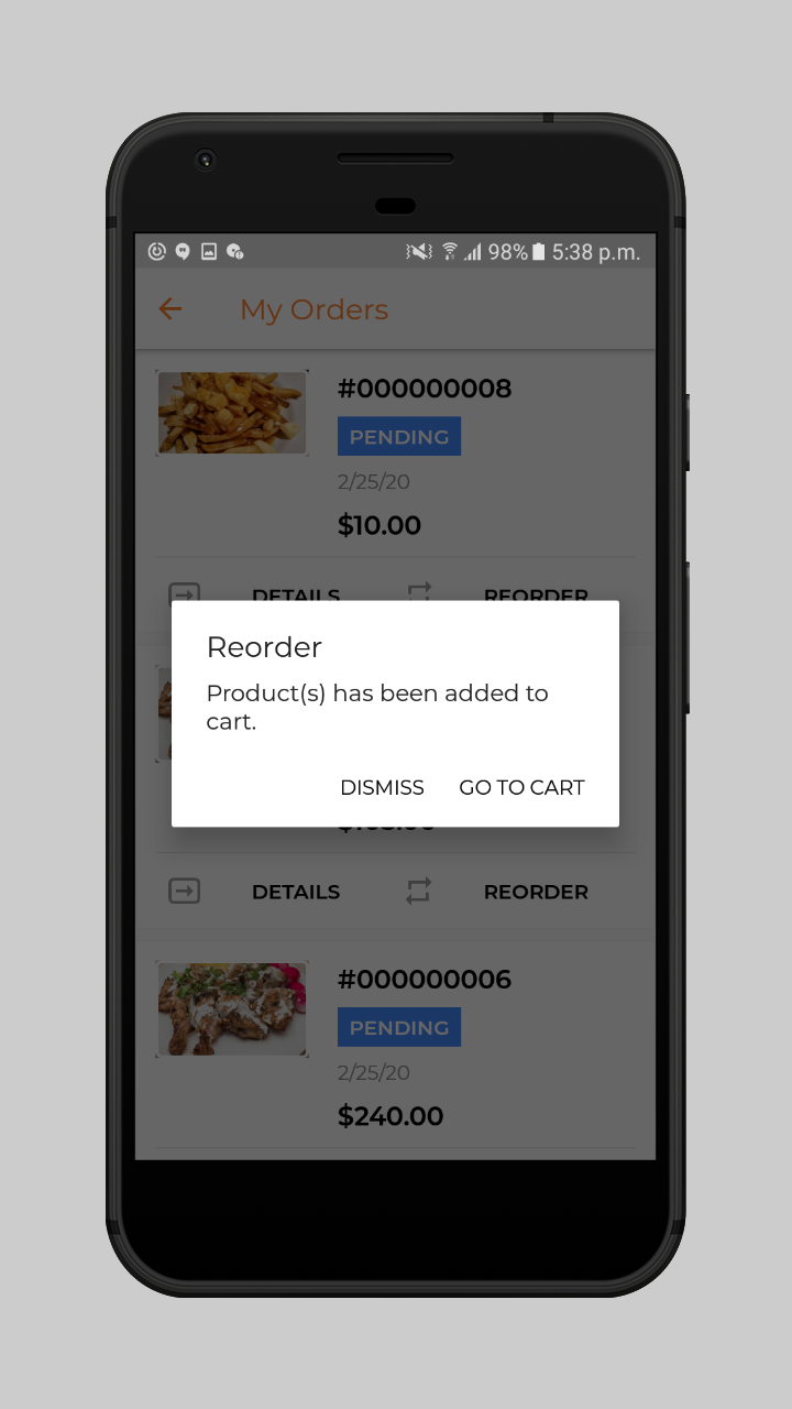 webkul-magento2-food-delivery-maketplace-customer-reorder-popup