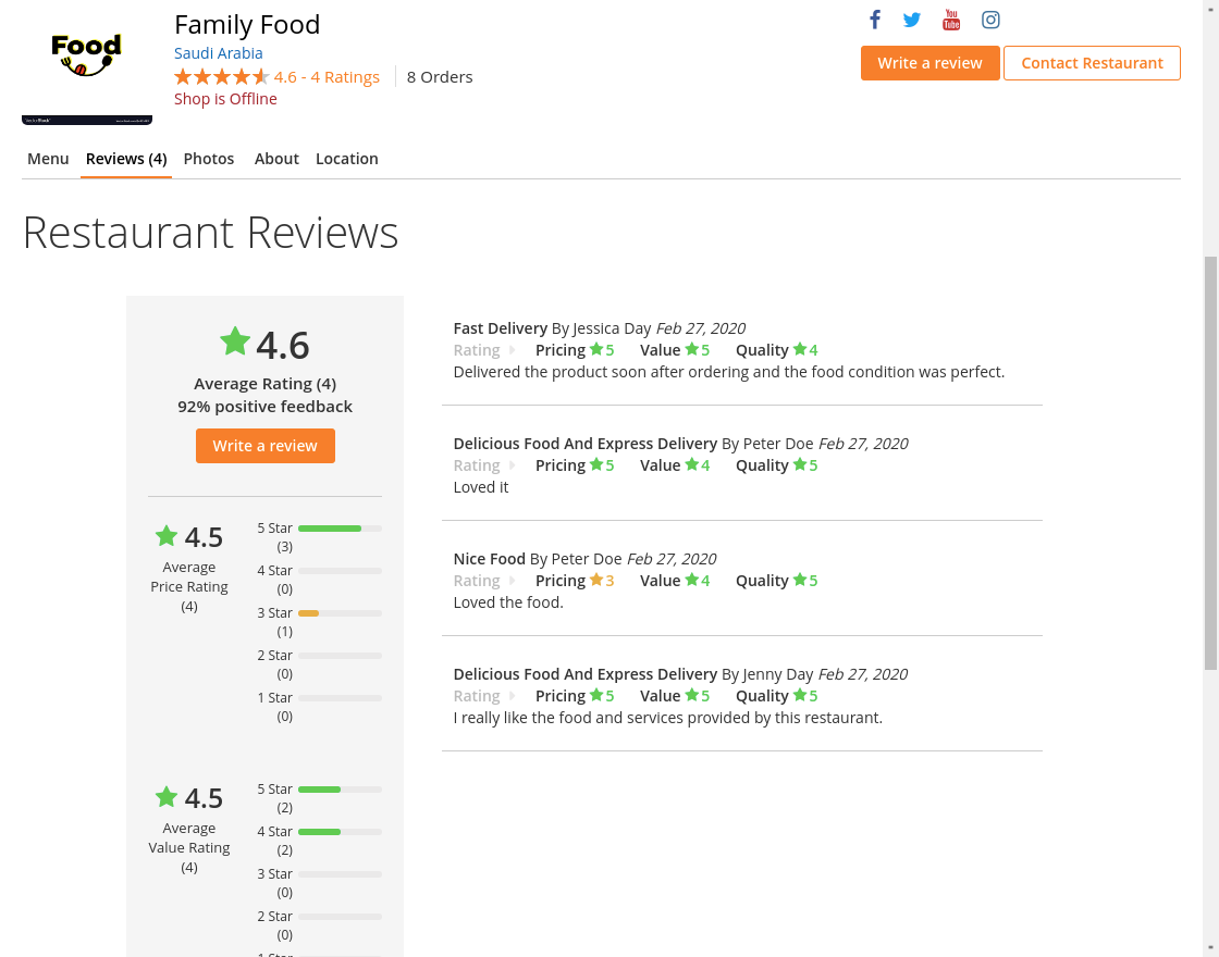 webkul-magento2-food-delivery-maketplace-customer-review