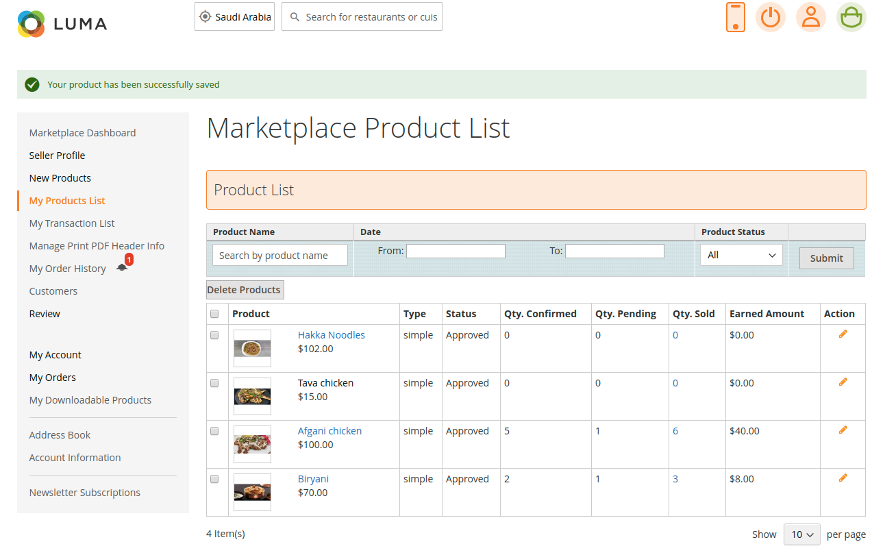 webkul-magento2-Online Food Delivery-seller-product-list