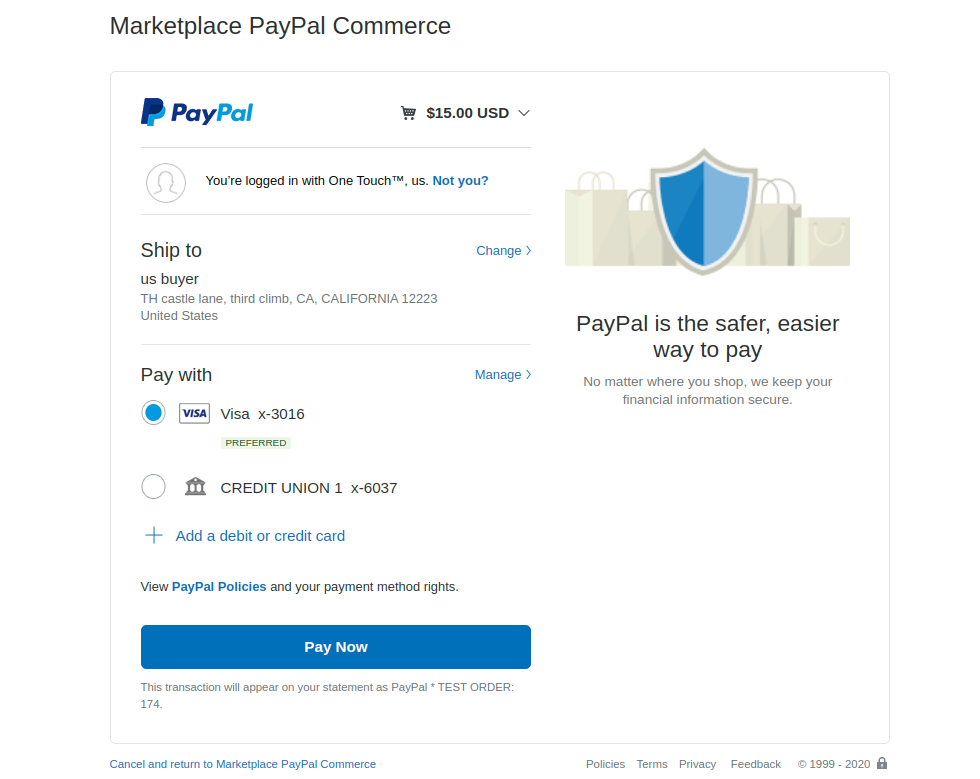 webkul-woocommerce-marketplace-paypal-commerece-customer-select-card-details