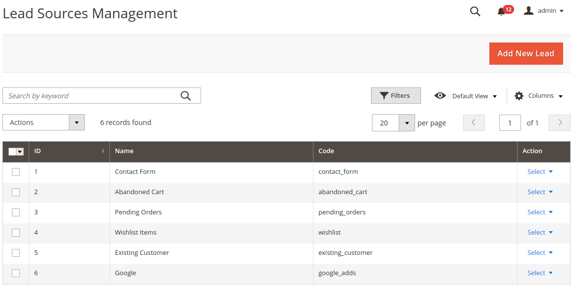 webkul_CRM_for_magento2_admin_leads_source_management