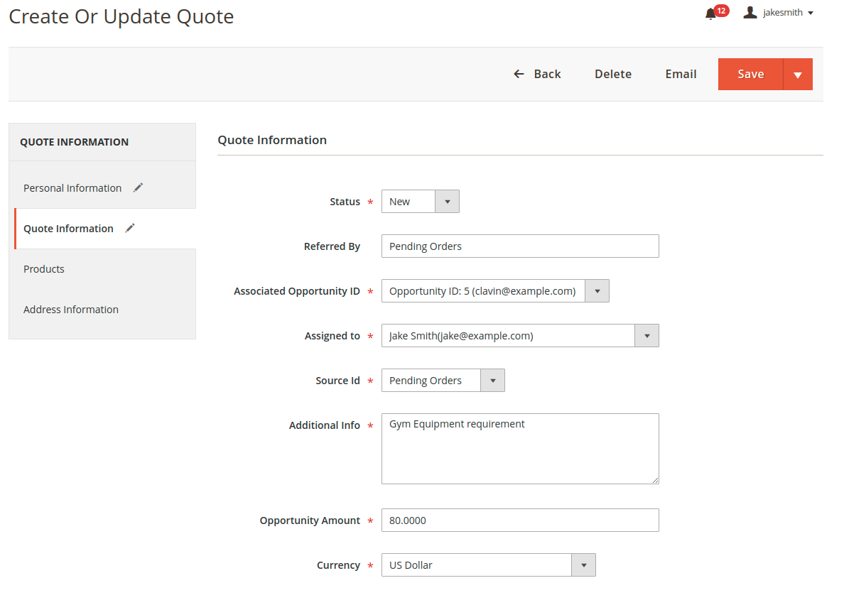 webkul_CRM_for_magento2_quote_information