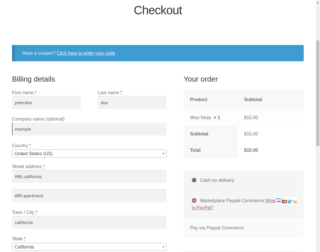 Marketplace PayPal Commerce