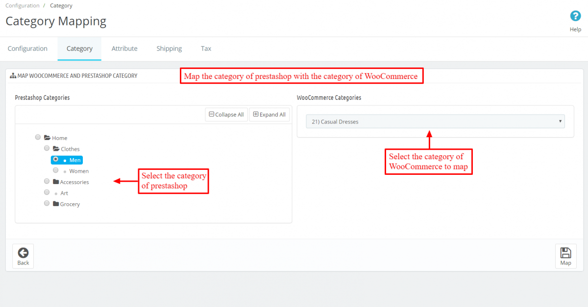 Select category of prestashop to map with Category of WooCommerce