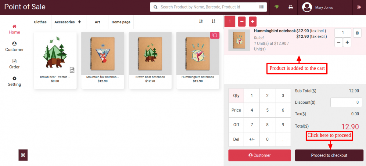 Add products in POS cart