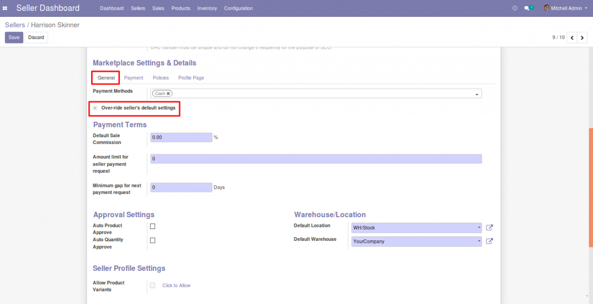 Over-ride seller's default settings