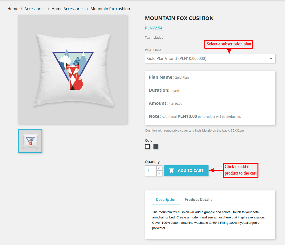 select a subscription plan to subscribe the product