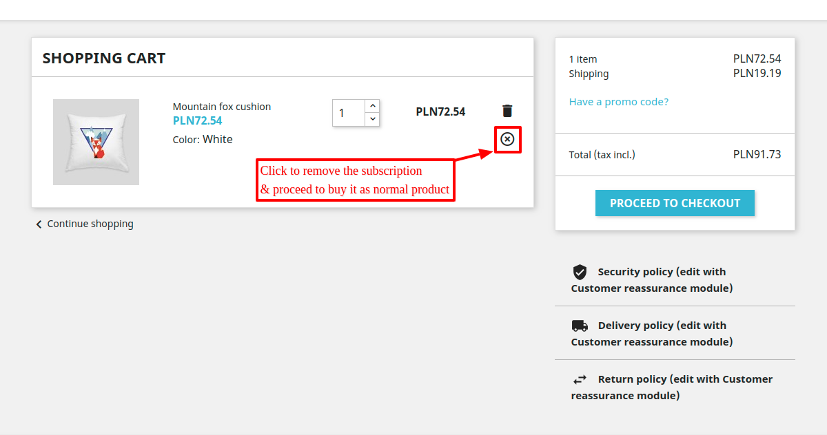 remove subscription from the cart page