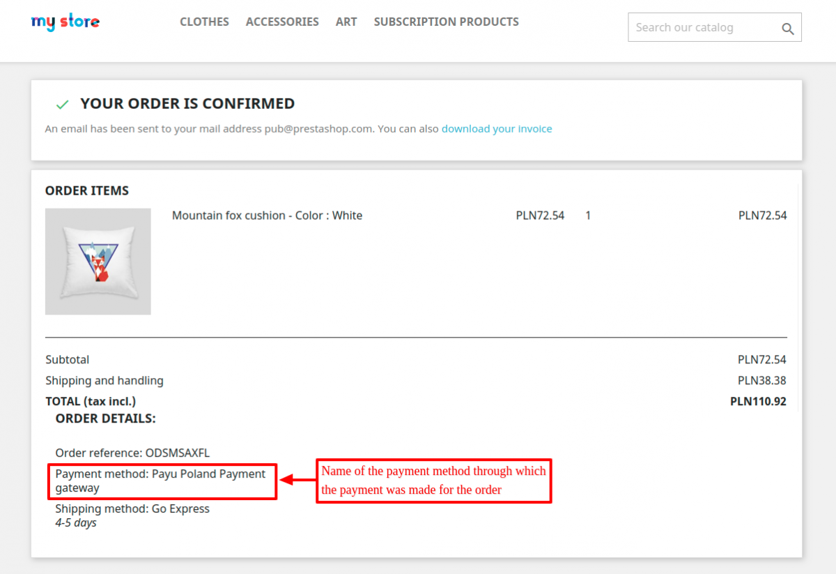 name of the payment method available on the order confirmation page