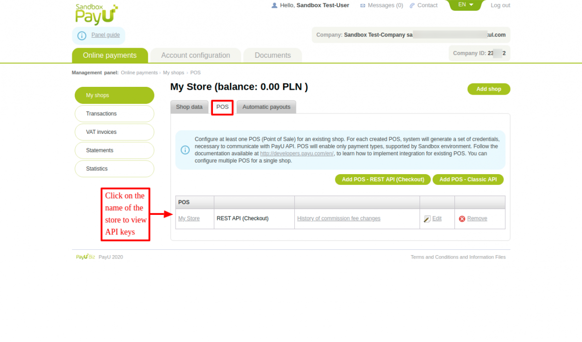 Click on the name of shop to proceed to view API keys