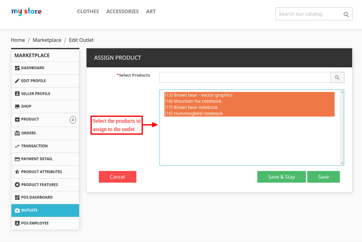 Select products to assign
