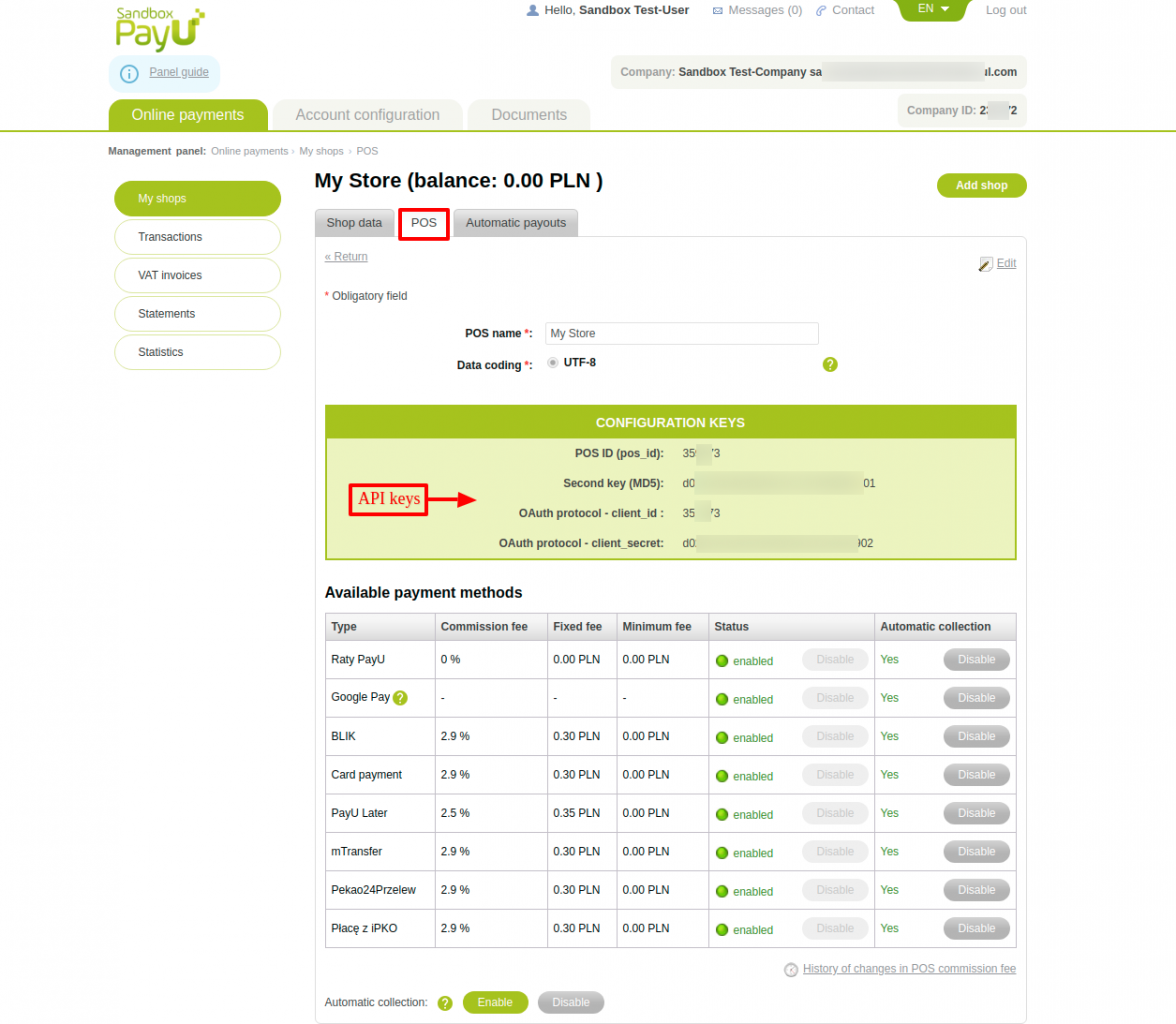 View API keys for PayU payment gateway