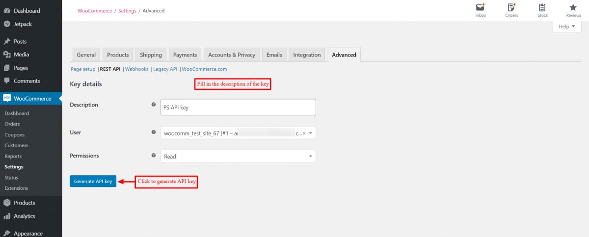 Fill the description of API key