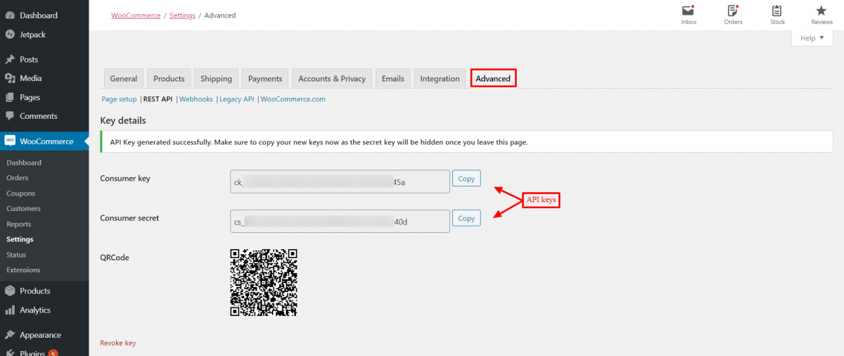 API key generated to connect WooCommerce with Prestashop