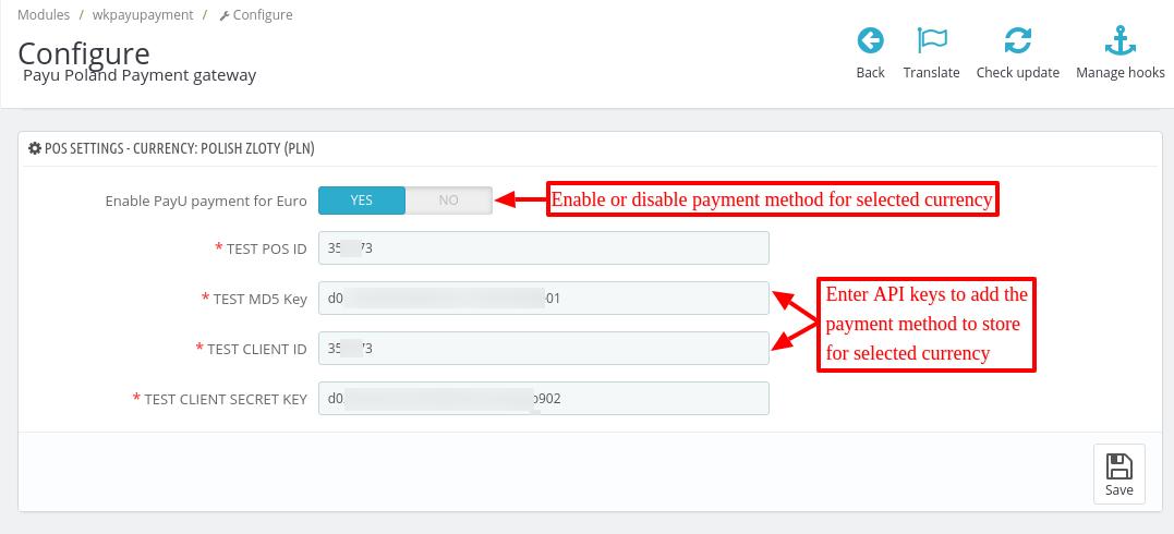 Configure payU payment gateway module