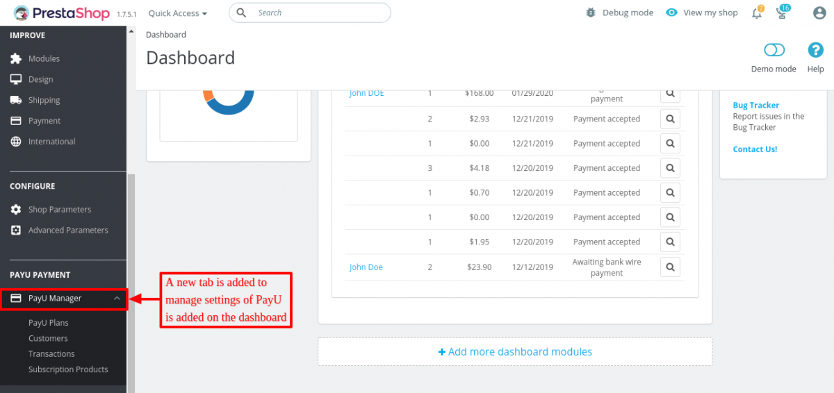 new tab added on the dashboard to manage payU