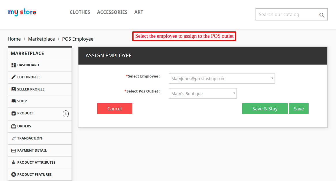 Select employee & assign to a POS outlet