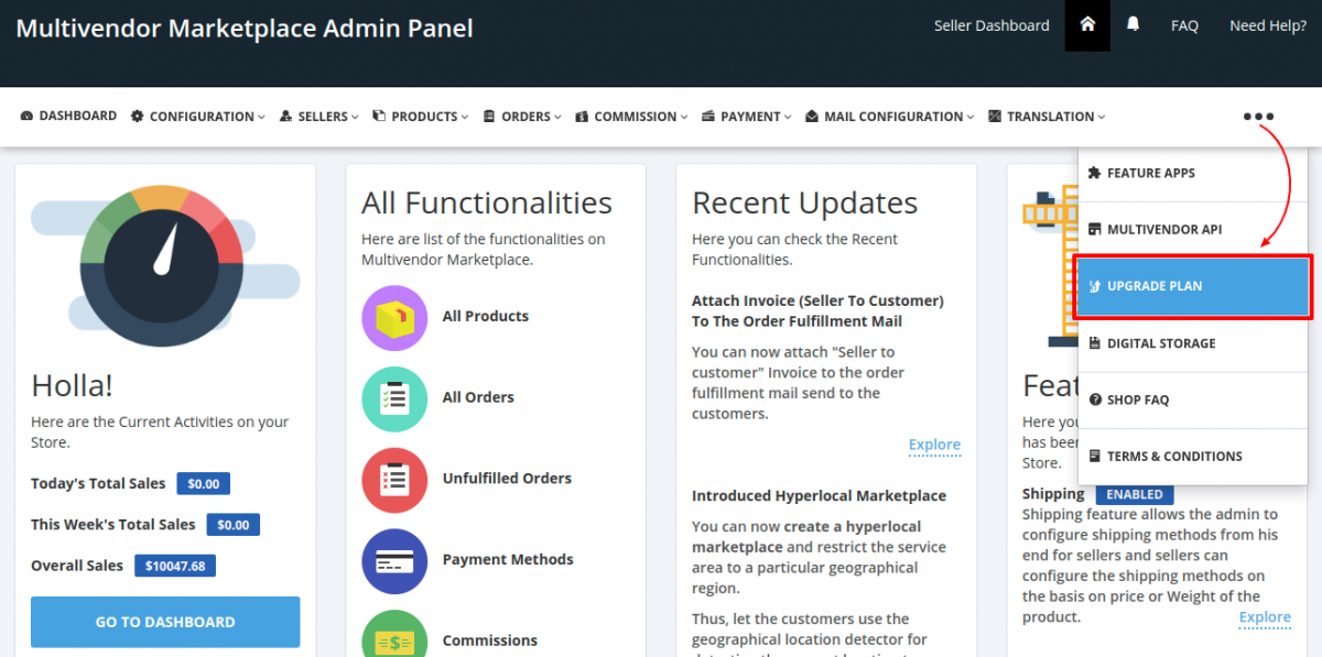 Multivendor Marketplace Admin Panel > Upgrade Plan