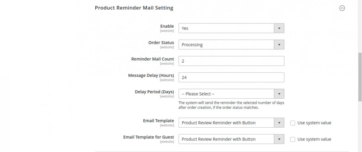 webkul-magento2-marketplace-review-reminder-configuration-1-1