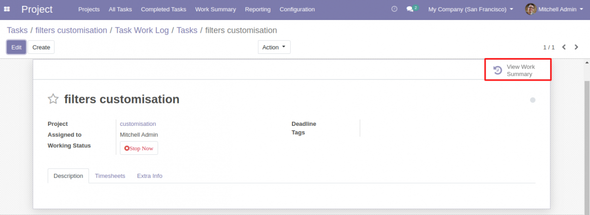 view work summary in Odoo Project Task Start Stop