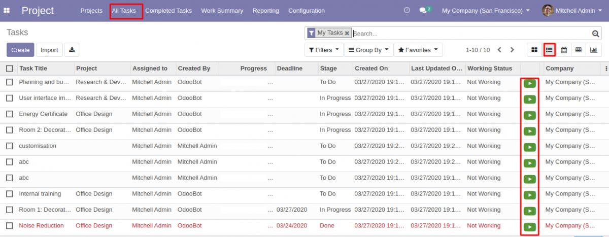 Odoo Project Task Start Stop