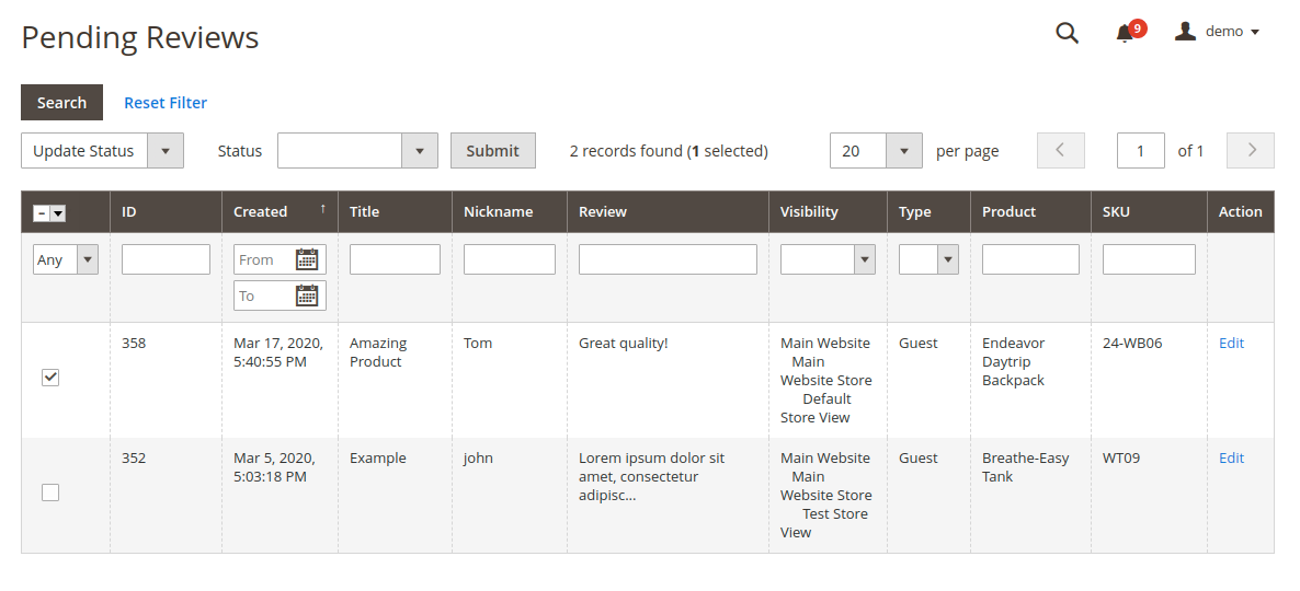 webkul-magento2-marketplace-review-reminder-pending-review-7