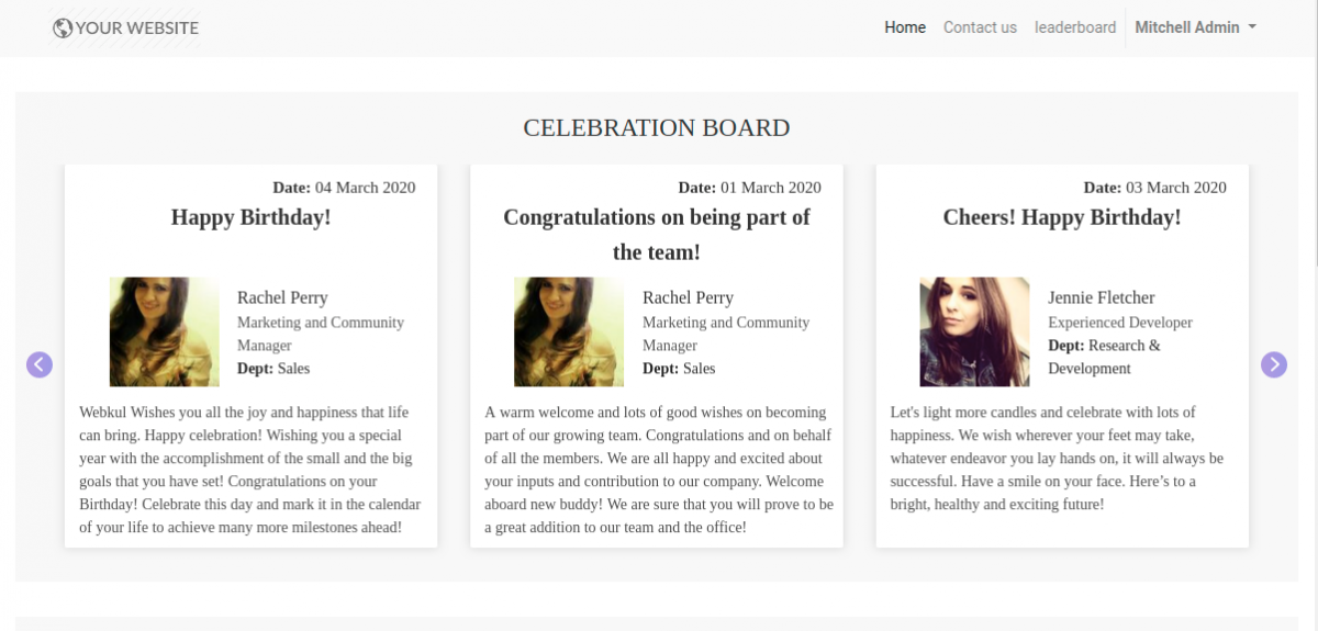 Odoo Celebration Board