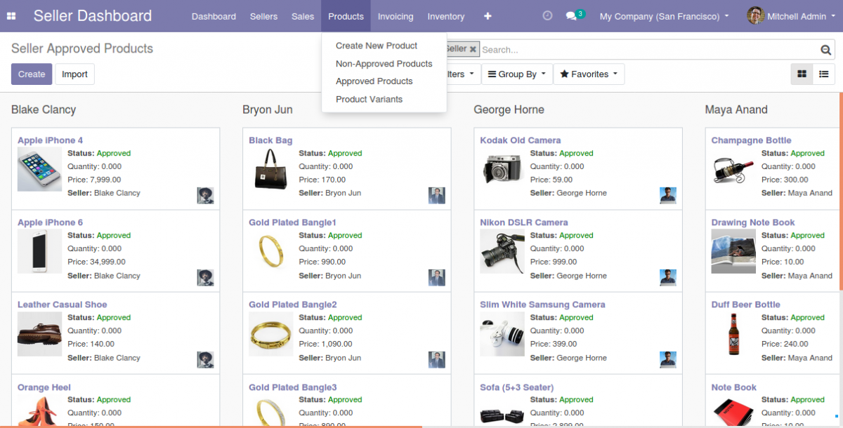 Manage products on Odoo Multi Vendor Marketplace