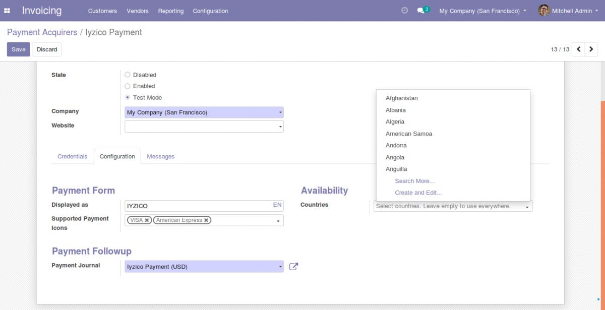 configuration settings of Odoo-iyzico integration 4