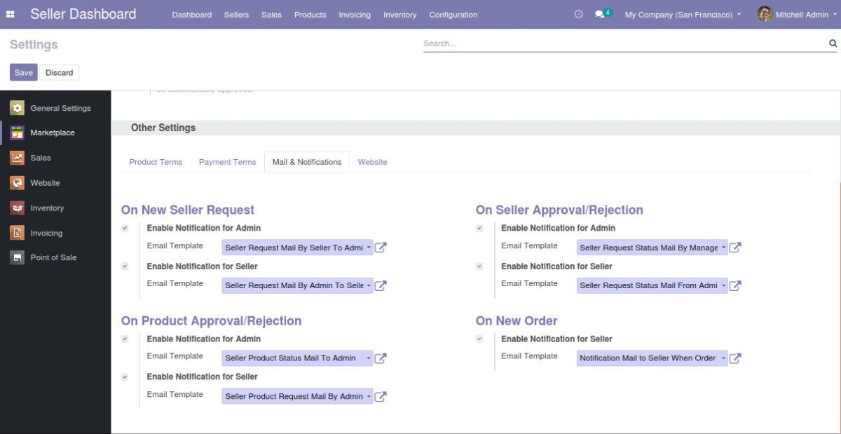 Odoo Multi Vendor Marketplace Mail and Notification Configuration