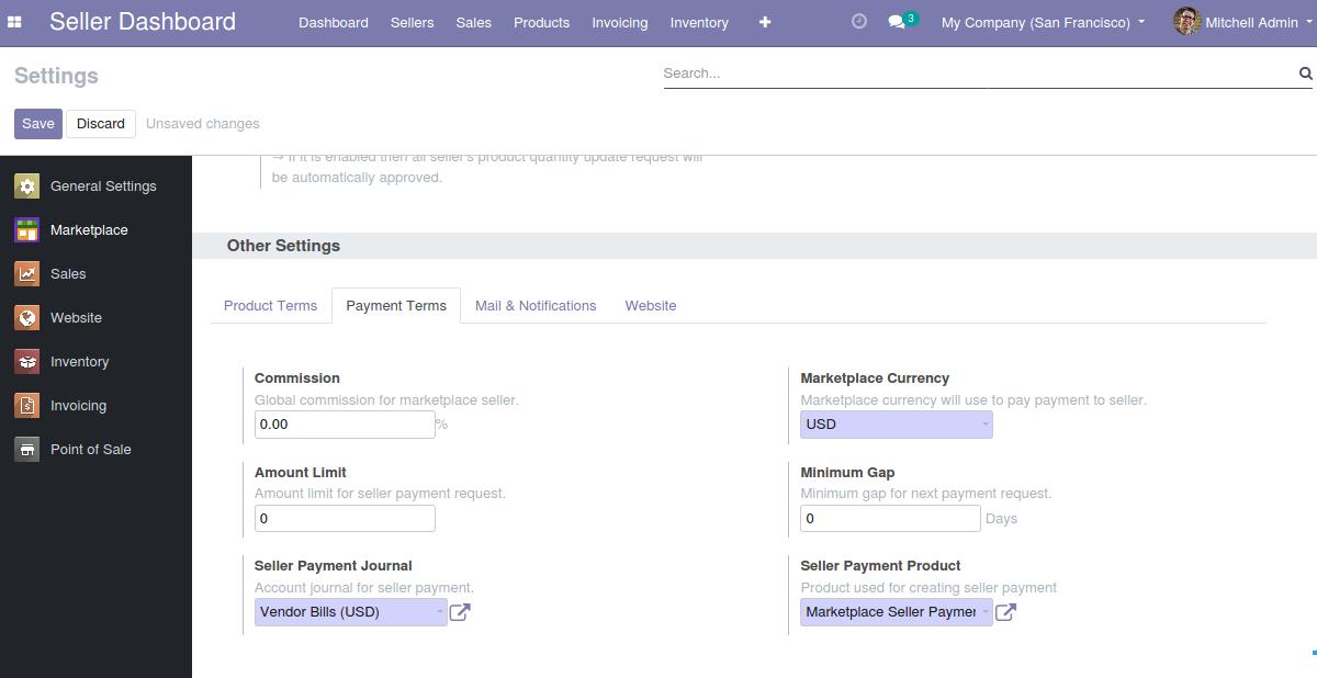 Odoo Multi Vendor Marketplace Payment Term Configuration