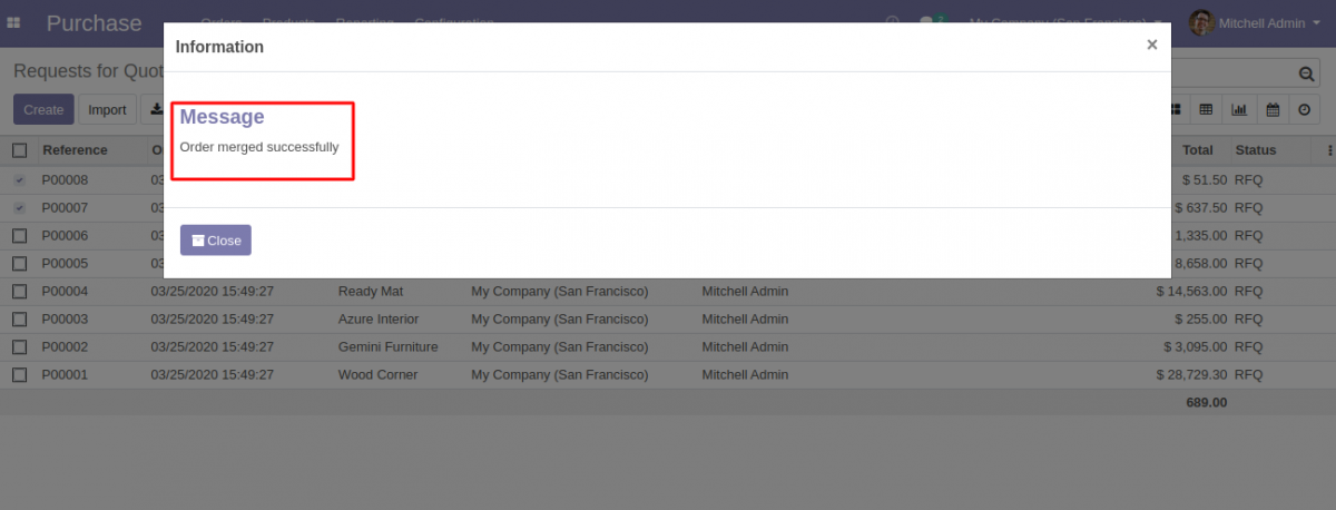 Merged Purchase Order in Odoo