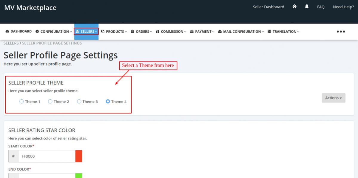 seller profile page settings