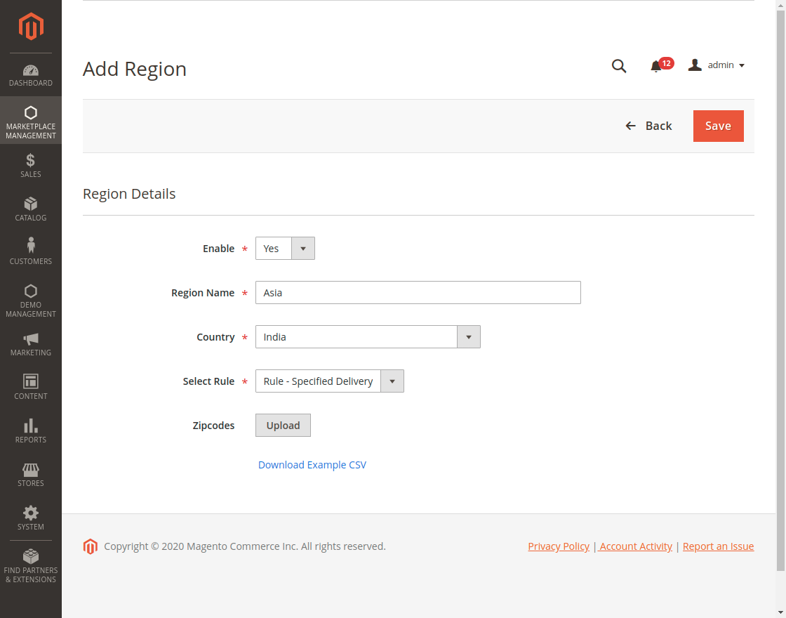 Multi Tenant Expected Delivery manage region details