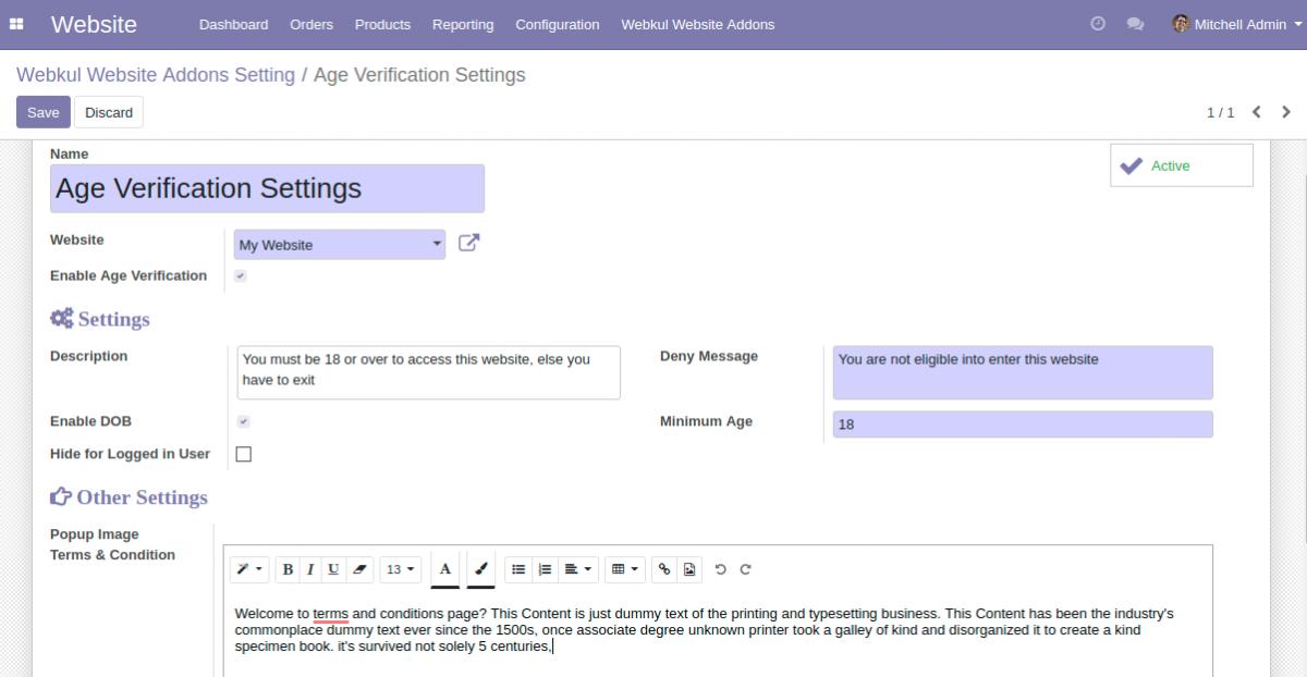 age verification configuration