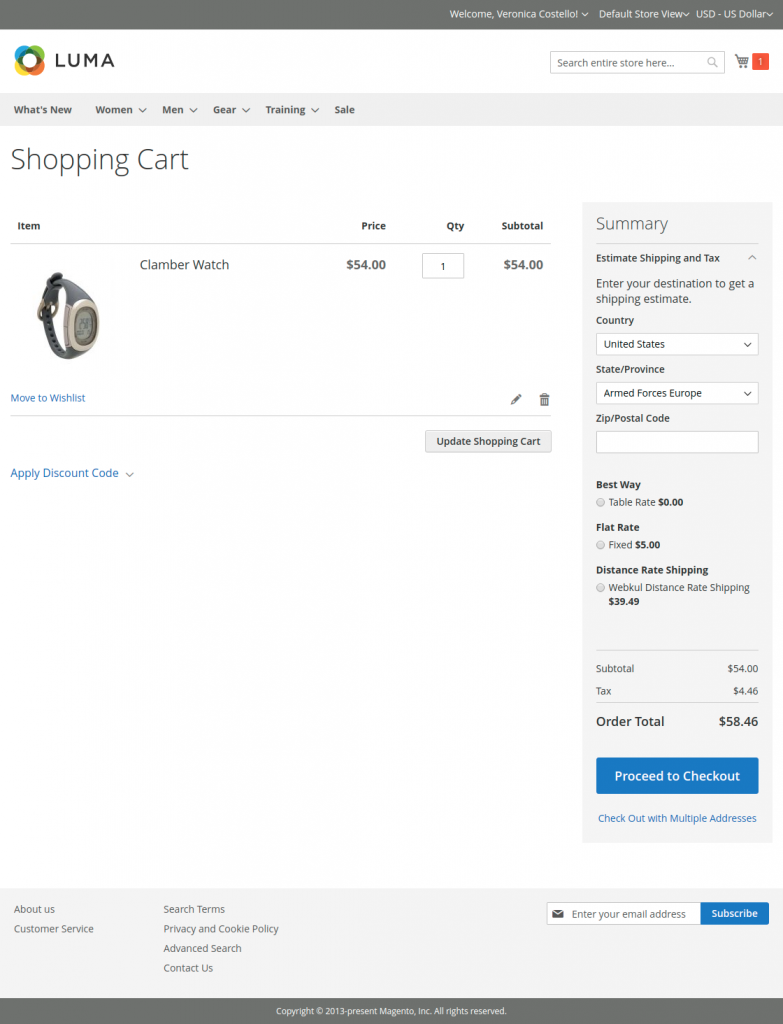 Distance-based-shipping-cart