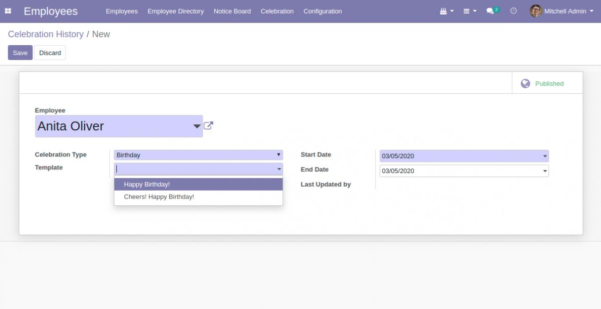 Creating celebration for Odoo ERP dashboard