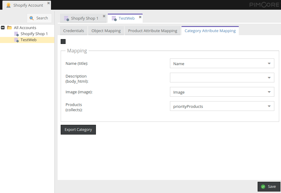 Categories attribute mapping in in Pimcore Shopify Connector