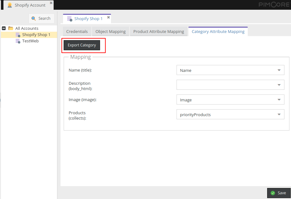 Export categories in Pimcore Shopify Connector