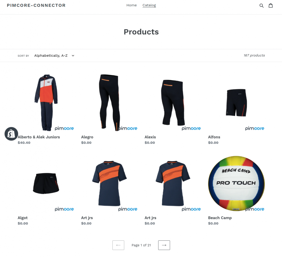 products at front store in Shopify