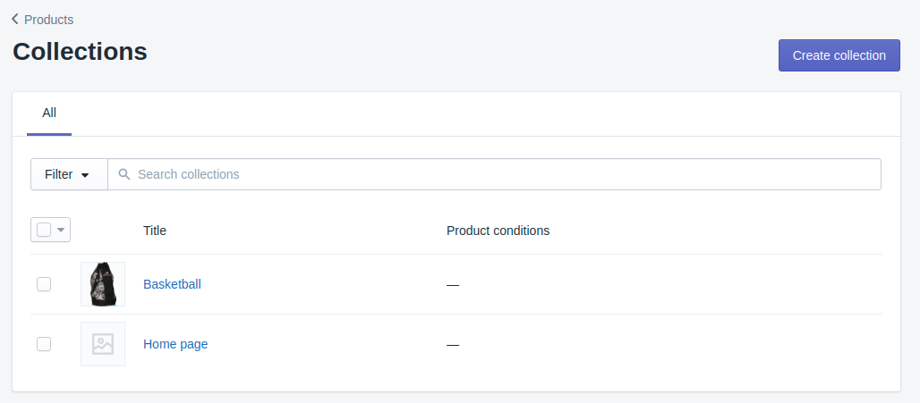 products collection in Shopify