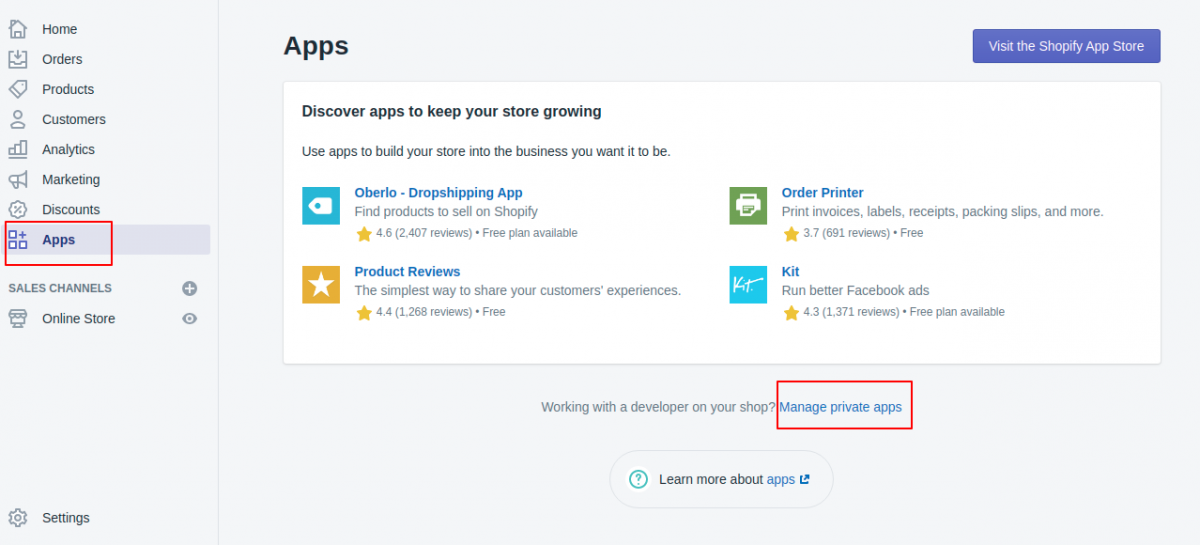 create private app in Shopify to connect with Pimcore
