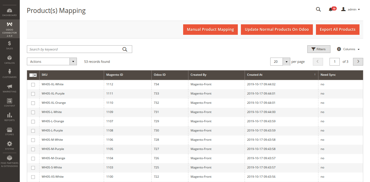 Export All Products from Magento to Odoo